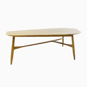 Grande Table Basse en Forme de Boomerang en Teck