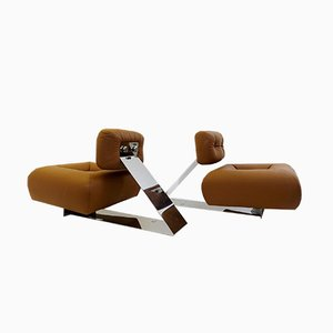 Leather and Stainless Steel Aran Lounge Chairs by Oscar Niemeyer, 1970s, Set of 2