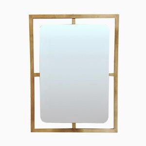 Specchio da parete in ottone, Italia, anni '70