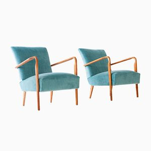 Model 401 Armchairs in Turquoise Velvet from Cassina, 1940s, Set of 2