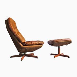 Vintage Sessel mit Fußhocker von Madsen und Shauble für Bovenkamp