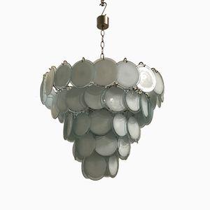 Lámpara de araña Mid-Century grande con discos de cristal de Murano de Vistosi