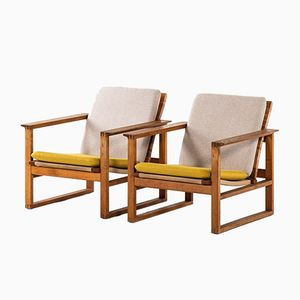 Danish Model BM-2256 Sled Easy Chairs by Børge Mogensen for Fredericia, 1950s, Set of 2