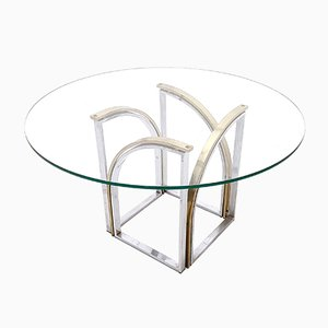 Round Brass, Glass, & Steel Dining Table by Romeo Rega, 1970s