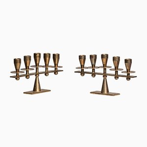 Danish Brass Candleholders from Kara, 1950s, Set of 2