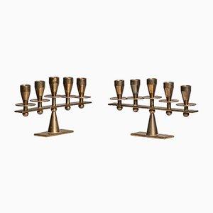 Danish Brass Candleholders from Kara, 1950s, Set of 2