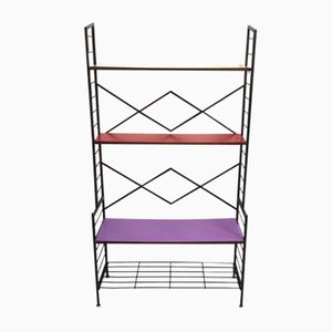 Italian Iron Ètagerè with Shelves in Purple, Red & Yellow Formica, 1960s