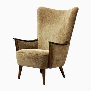 Vintage Velvet Armchair, 1950s