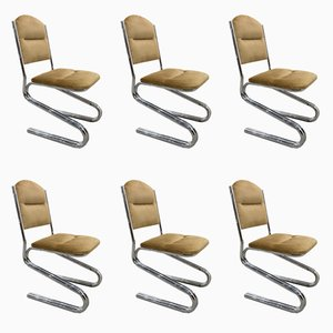 Chaises en Acier Tubulaire, 1960s, Set de 6