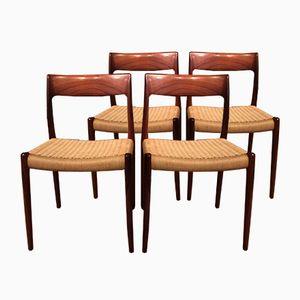 Modell 77 Beistellstühle von Nils Møller für J.L. Møllers, 1960er, 4er Set