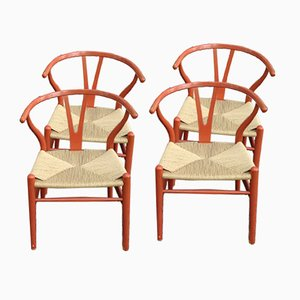 Vintage C24 Wishbone Chairs by Hans Wegner, Set of 4