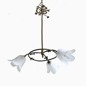 Vintage Floral Brass Chandelier