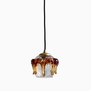 Lámpara colgante vintage de vidrio y cristal de Murano en ámbar
