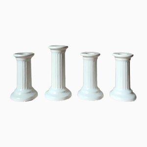 Portacandela vintage a forma di colonna in ceramica bianca di Guldkroken Hjo, set di 4