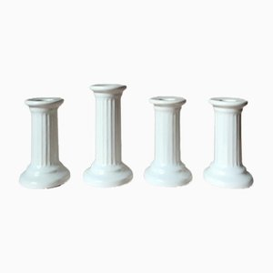 Vintage White Ceramic Column Candleholders from Guldkroken Hjo, Set of 4