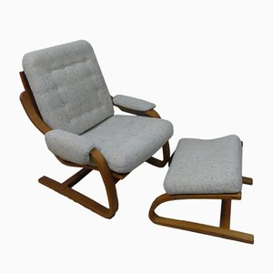 Teak Lounge Chair with Footstool, 1960s