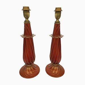 Lampada da tavolo rossa e dorata in vetro di Murano di Italian light design, set di 2