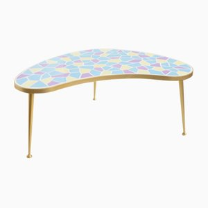 German Kidney-Shaped Table in Brass and Mosaic, 1950s