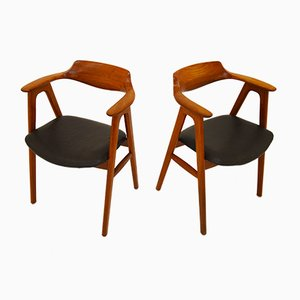 Teak & Leather Armchairs by Erik Kirkegaard for Høng Stolefabrik, 1950s, Set of 2