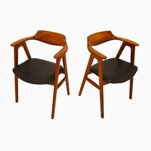 Teak & Leather Armchairs by Erik Kirkegaard for Høng Stolefabrik, 1960s, Set of 2