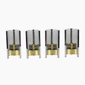 Steel & Brass Sconces by Gaetano Sciolari, 1960s, Set of 4