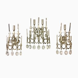Nickel Sconces by Gaetano Sciolari, 1960s, Set of 3