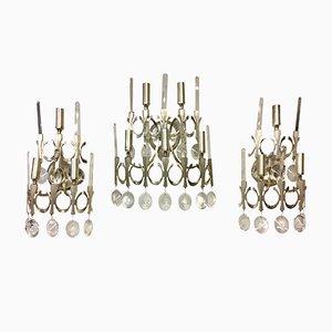 Nickel Wandlampen von Gaetano Sciolari, 1960er Jahre, 3er Set
