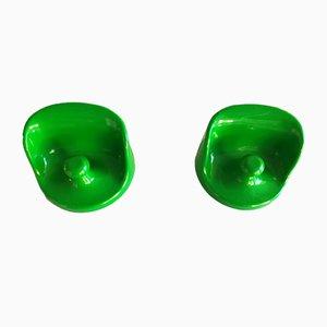 Gancho de pared verde de Olaf von Bohr para Kartell, años 60. Juego de 2