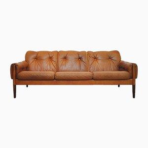 Sofá de tres plazas escandinavo vintage de palisandro y cuero coñac marrón
