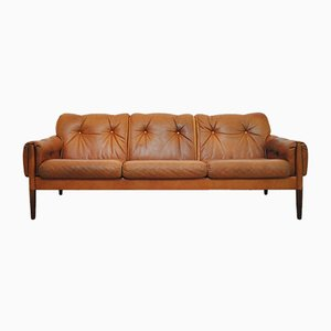 Vintage Scandinavian Three-Seater Sofa in Rosewood & Cognac Brown Leather