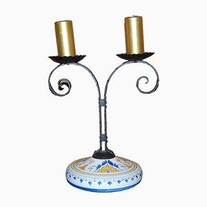 Vintage Doppel-Kerzenleuchter aus Keramik