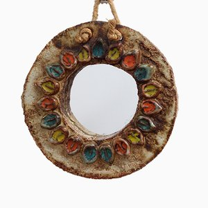 Espejo floral de cerámica de La Roue, años 60