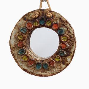 Specchio in ceramica con motivi floreali di La Roue, anni '60