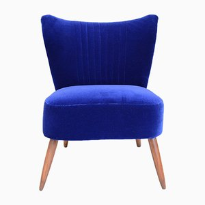 Blue Velvet Side Chair, 1970s