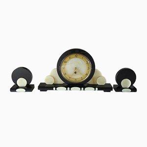 Orologio grande da mensola in marmo e onice, anni '20