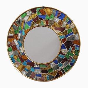 Spanischer Spiegel mit Rahmen aus Messing & Mosaik, 1960er
