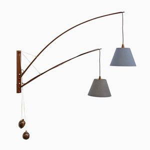 Large Teak Wall Lamp by Rupprecht Skrip for Skrip Leuchten, 1950s