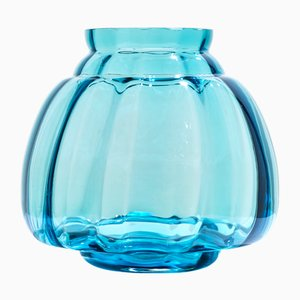 Copier Revisited Vase in Aqua 20 by A.D. Copier for Royal Leerdam Crystal