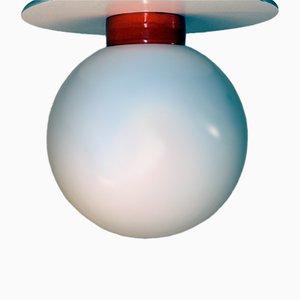 Lámpara de techo vintage de porcelana y vidrio opalino