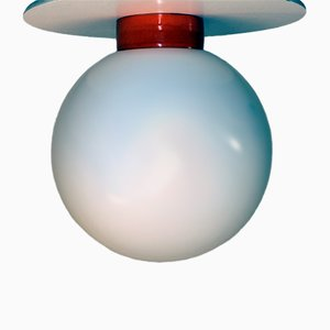Vintage Porcelain & Opal Glass Ceiling Lamp