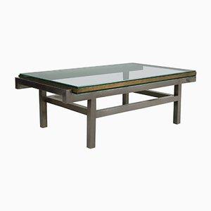 Table Basse Moderniste en Acier et Laiton, 1960s
