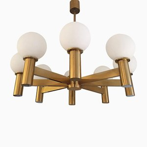 Brass & Glass Globes Chandelier, 1970s