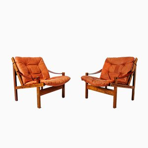 Safari Chairs in Rosewood & Aniline leather by Torbjorn Afdal for Bruksbo, 1960s, Set of 2