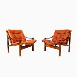 Safari Sessel aus Palisander & Anilinleder von Torbjorn Afdal für Bruksbo, 1960er, 2er Set