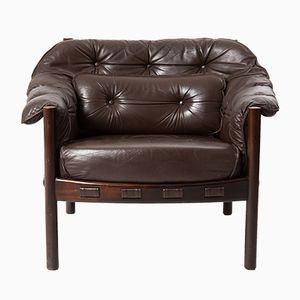 Vintage Leather & Wood Club Chair by Arne Norell