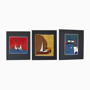 Stampe d'arte in tessuto, anni '50, set di 3