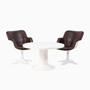 Table de Salle à Manger et 2 Chaises Vintage par Yrjö Kukkapuro pour Haimi