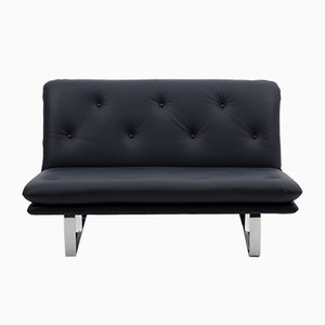 Dark Blue Leather 2-Seater Sofa by Kho Liang Ie for Artifort