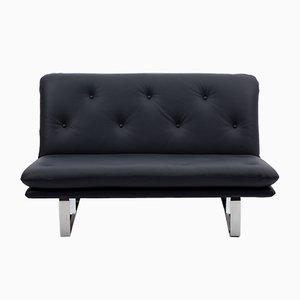 Sofá de dos plazas de cuero azul oscuro de Kho Liang Ie para Artifort