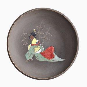 Piatto decorativo Mid-Century in ceramica di Arno Kiechle, anni '50